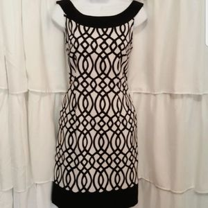 Connected Apparel Black and White Abstract Dress